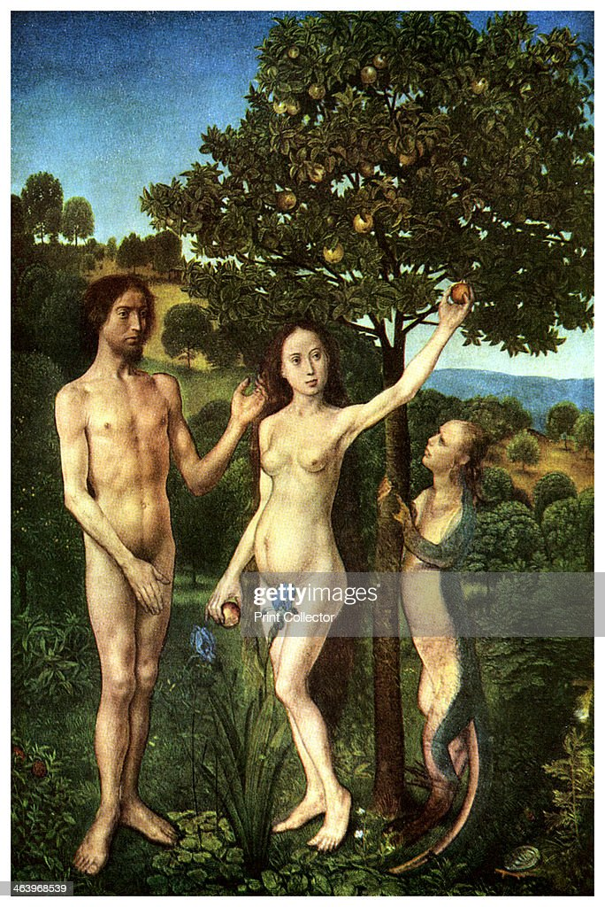 The Fall of <a gi-track='captionPersonalityLinkClicked' href=/galleries/search?phrase=Adam+-+Biblisk+person&family=editorial&specificpeople=77730 ng-click='$event.stopPropagation()'>Adam</a> and Eve, c1467-1468 (1956). From the Kunsthistorisches Museum, Vienna. A print from Ideas, a volume about the origin and early history of many things, common and less common, essential and inessential, by Readers Union, the Grosvenor Press, London, 1956.