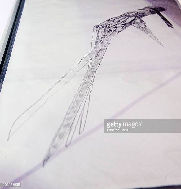 Original sketches used in the production of the film Edward Scissorhands is displayed on the exhibition 'Fantastic SyFy Objects' at the Royal...