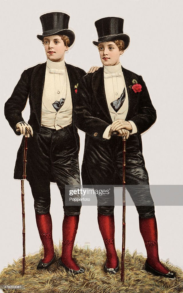 Original Victorian chromolithograph featuring two dandies with top hats walking sticks and buttonholes published circa 1880 In Victorian Britain the...