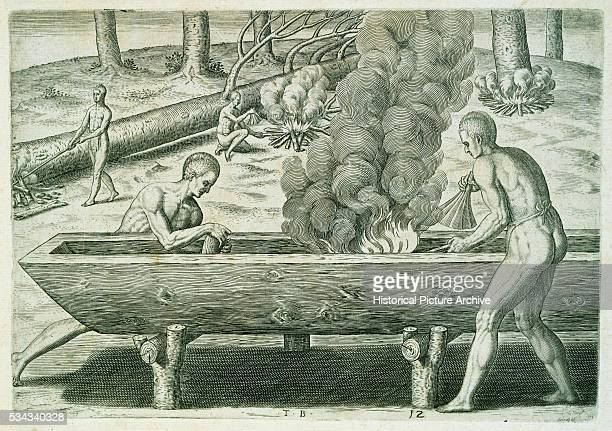 'Originally published in 1590 by Theodor de Bry this engraving was republished by Johann Ludwig Gottfried in the 17th century | Version of 'The...