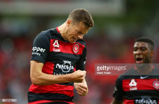 Orio Riera of the Wanderers celebrates after scoring a goal during the round two ALeague match between the Western Sydney Wanderers and the Central...