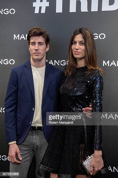 Oriol Elcacho and Davinia Pelegri pose during a photocall for 'Tribal Spirit' by Mango on January 28 2016 in Barcelona Spain