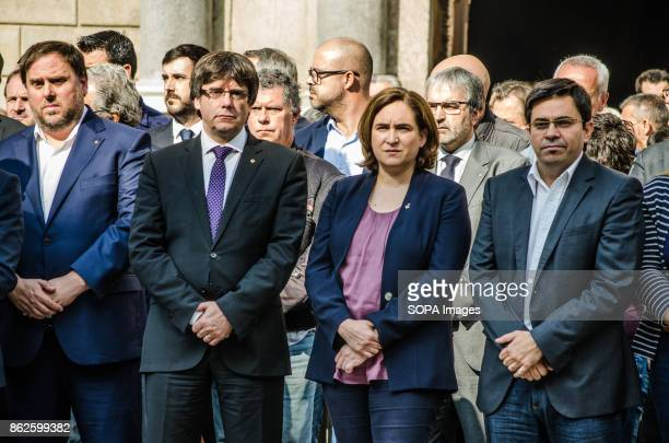 Oriol Junqueras Carles Puigdemont Ada Colau and Gerardo Pissarelo attend the institutional concentration of rejection to the prison to Jordi Sanches...