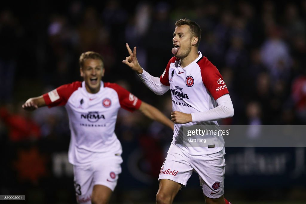Oriol Riera of the Wanderers celebrates scoring a goal in extra time during the FFA Cup Quarterfinal match between Blacktown City and the Western Sydney Wanderers at Lily Football Centre on September 20, 2017 in Sydney, Australia.