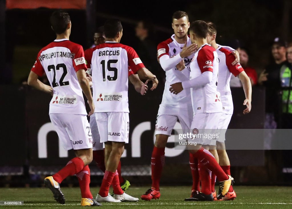 Oriol Riera of the Wanderers celebrates with team mates after scoring a goal during the FFA Cup Quarterfinal match between Blacktown City and the Western Sydney Wanderers at Lily Football Centre on September 20, 2017 in Sydney, Australia.