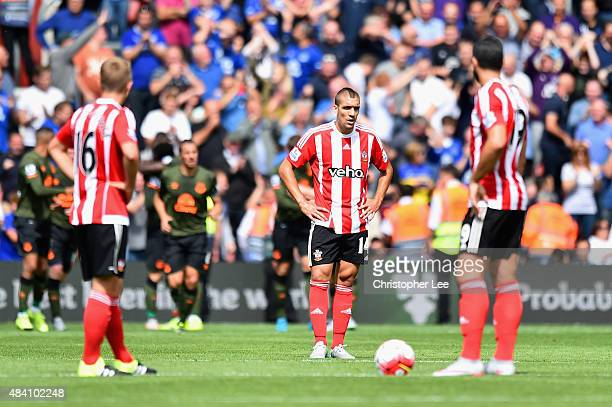 Oriol Romeu of Southamptom looks on dejected during the Barclays Premier League match between Southampton and Everton at St Mary's Stadium on August...