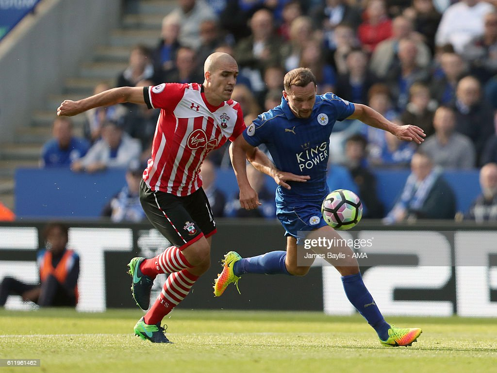 Oriol Romeu of Southampton and Danny Drinkwater of Leicester City during the Premier League match between Leicester City and Southampton at The King Power Stadium on October 2, 2016 in Leicester, England.