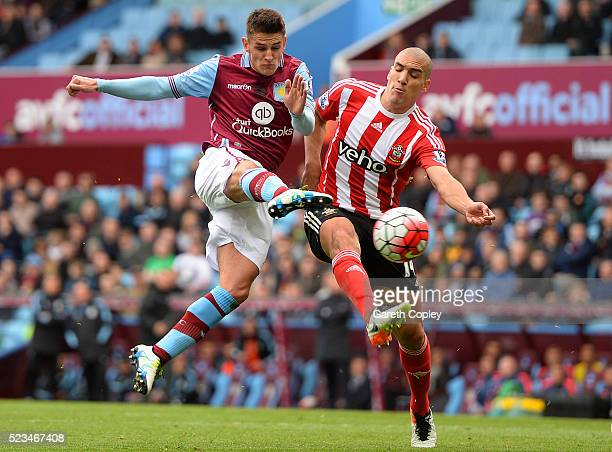 Oriol Romeu of Southampton cannot stop Ashley Westwood of Aston Villa scoring his sides first goal during the Barclays Premier League match between...