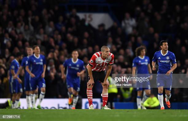 Oriol Romeu of Southampton reacts as Diego Costa of Chelsea scores their fourth goal during the Premier League match between Chelsea and Southampton...