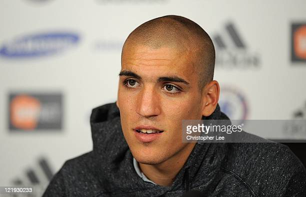 Oriol Romeu talks to the press during the Chelsea new signings of Oriol Romeu and Romelu Lukaku press conference on August 23 2011 in Cobham England