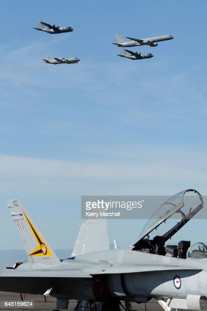 Orion and two C130 Hercules put on a flying display at the 2017 Air Tattoo at RNZAF Base Ohakea on February 25 2017 in Ohakea New Zealand The Royal...
