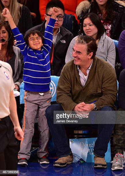 Orion Noth and Chris Noth attend Memphis Grizzlies vs New York Knicks game at Madison Square Garden on March 23 2015 in New York City