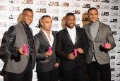 Oritse Williams Aston Merrygold Jb Gill and Marvin Humes of JLS attends a photocall to launch the new JLS female fragrance 'LOVE' at One Mayfair on...