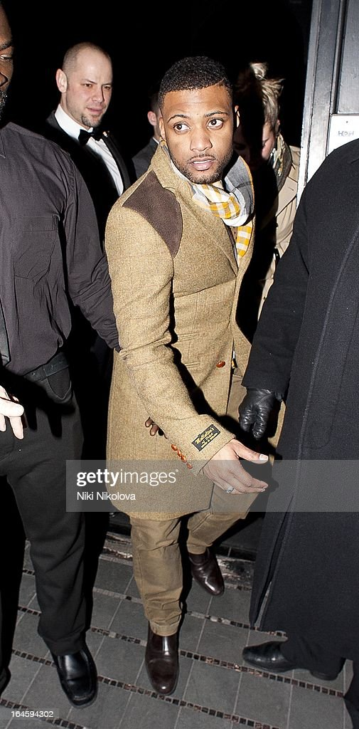 Oritse Williams leaving Amika Club on March 24, 2013 in London, England.