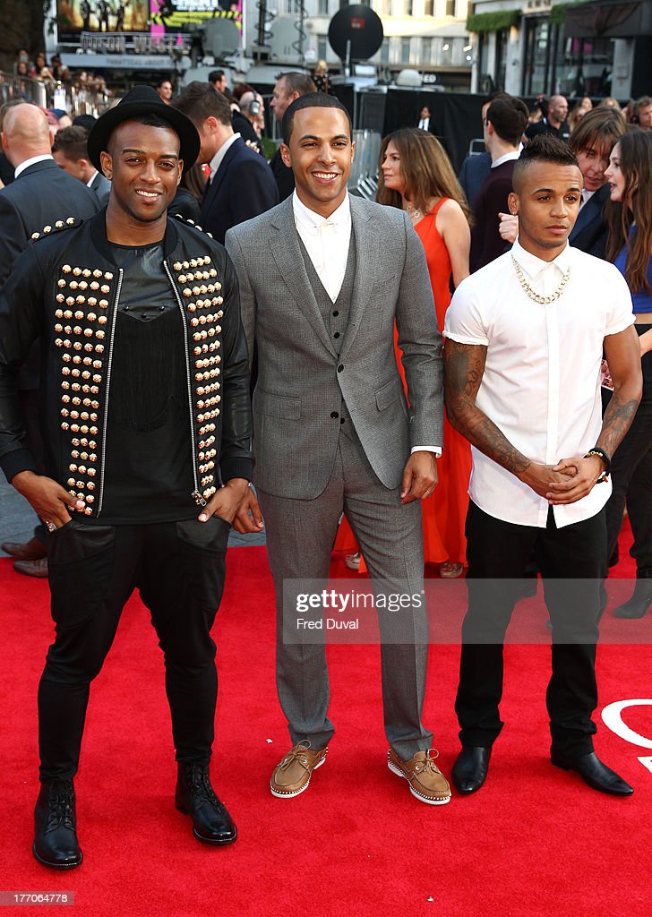<a gi-track='captionPersonalityLinkClicked' href=/galleries/search?phrase=Oritse+Williams&family=editorial&specificpeople=5739700 ng-click='$event.stopPropagation()'>Oritse Williams</a>, <a gi-track='captionPersonalityLinkClicked' href=/galleries/search?phrase=Marvin+Humes&family=editorial&specificpeople=2887070 ng-click='$event.stopPropagation()'>Marvin Humes</a> and <a gi-track='captionPersonalityLinkClicked' href=/galleries/search?phrase=Aston+Merrygold&family=editorial&specificpeople=5739699 ng-click='$event.stopPropagation()'>Aston Merrygold</a> attend the World Premiere of 'One Direction: This Is Us' at Empire Leicester Square on August 20, 2013 in London, England.