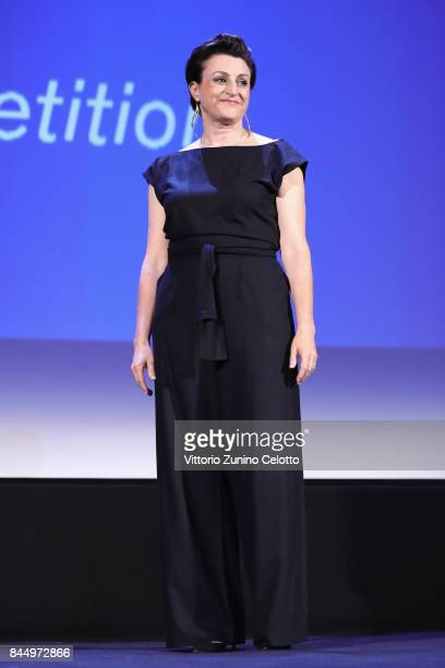 'Orizzonti' jury Ami Canaan Mann is seen on stage during the Award Ceremony of the 74th Venice Film Festival at Sala Grande on September 9 2017 in...