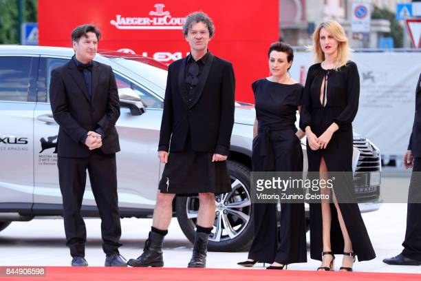 'Orizzonti' jury members Andres Duprat Mark Cousins Ami Canaan Mann and Fien Troch arrive at the Award Ceremony of the 74th Venice Film Festival at...