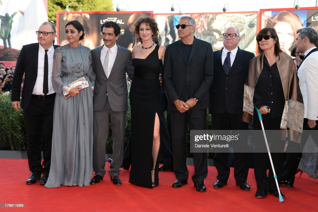 Orizzonti jury members Frederic Fonteyne, <a gi-track='captionPersonalityLinkClicked' href=/galleries/search?phrase=Golshifteh+Farahani&family=editorial&specificpeople=5535488 ng-click='$event.stopPropagation()'>Golshifteh Farahani</a>, Amr Waked, <a gi-track='captionPersonalityLinkClicked' href=/galleries/search?phrase=Ksenia+Rappoport&family=editorial&specificpeople=4333988 ng-click='$event.stopPropagation()'>Ksenia Rappoport</a>, Leonardo Di Costanzo, <a gi-track='captionPersonalityLinkClicked' href=/galleries/search?phrase=Paul+Schrader&family=editorial&specificpeople=984760 ng-click='$event.stopPropagation()'>Paul Schrader</a> and Catherine Corsini arrive at the closing ceremony of the 70th Venice International Film Festival at Palazzo del Cinema on September 7, 2013 in Venice, Italy.