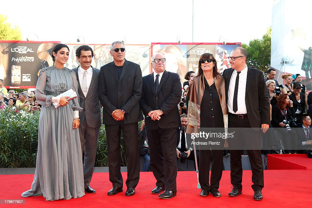Orizzonti Jury members <a gi-track='captionPersonalityLinkClicked' href=/galleries/search?phrase=Golshifteh+Farahani&family=editorial&specificpeople=5535488 ng-click='$event.stopPropagation()'>Golshifteh Farahani</a>, Amr Waked, Leonardo Di Costanzo, president <a gi-track='captionPersonalityLinkClicked' href=/galleries/search?phrase=Paul+Schrader&family=editorial&specificpeople=984760 ng-click='$event.stopPropagation()'>Paul Schrader</a>, Catherine Corsini and Frederic Fonteyne attend the Closing Ceremony during the 70th Venice International Film Festival at the Palazzo del Cinema on September 7, 2013 in Venice, Italy.