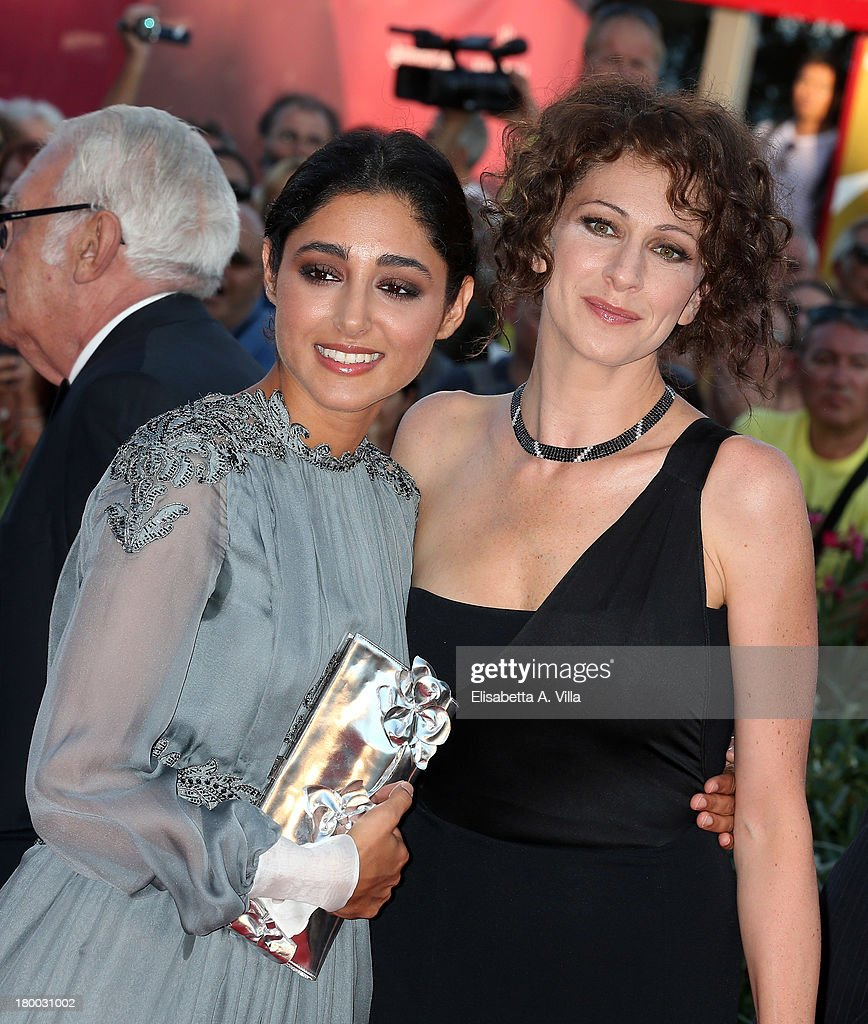 Orizzonti Jury members Iranian actress Golshifteh Farahani (L) and actress Ksenia Rappoport attend the Closing Ceremony of the 70th Venice International Film Festival at Palazzo del Cinema on September 7, 2013 in Venice, Italy.
