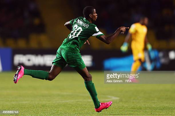Orji Okwonkwo of Nigeria celebrates his team's second goal during the FIFA U17 World Cup Chile 2015 Semi Final match between Mexico and Nigeria at...