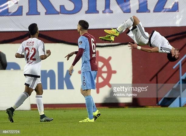 Orkan Cinar of Gaziantepspor celebrates after scoring a goal during a Turkish Spor Toto Super League soccer match between Trabzonspor and...