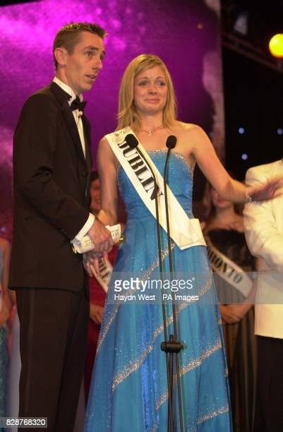 Orla Tobin from Dublin with host Ryan Tulbride after winning the Rose of Tralee International Festival 2003 a personality contest for young women of...