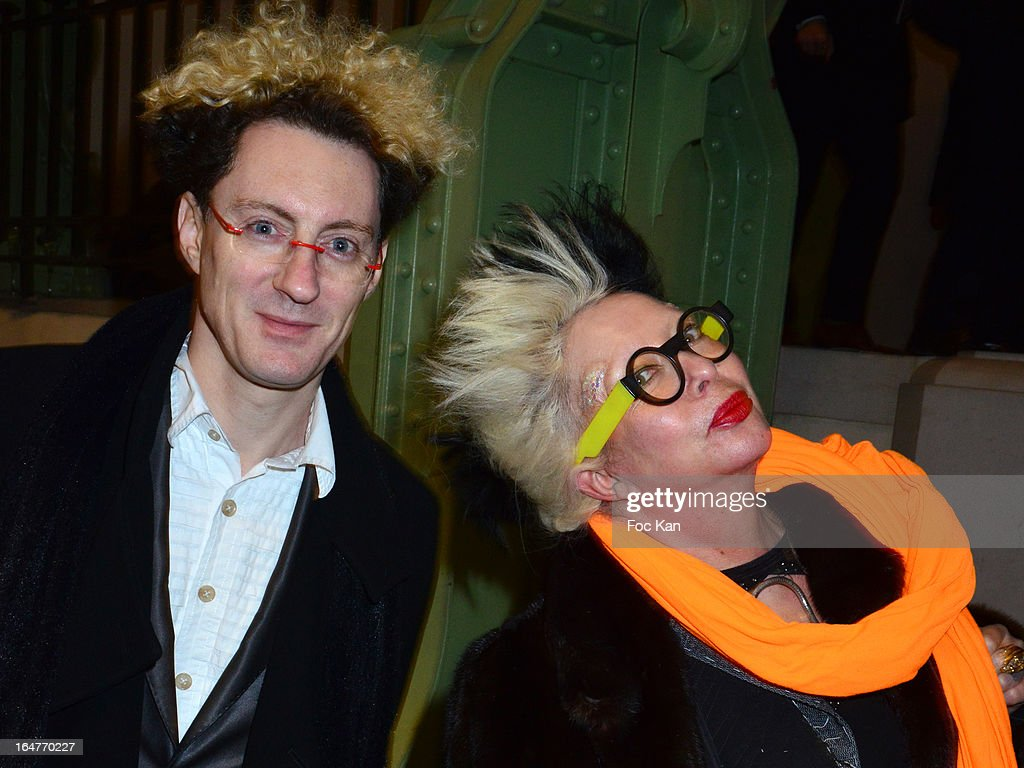 Orlan (R) and a guest attend the 'Art Paris 2013' Preview at Le Grand Palais on March 27, 2013 in Paris, France.