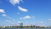 Orlando Airport Terminal blue sky clouds