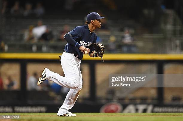 Orlando Arcia of the Milwaukee Brewers fields a ground ball during the sixth inning of a game against the Pittsburgh Pirates at Miller Park on...