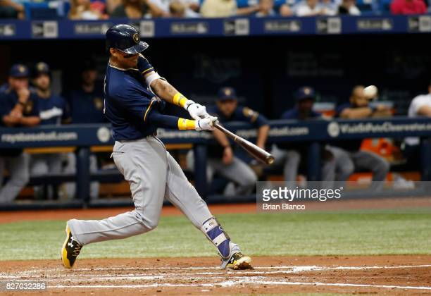 Orlando Arcia of the Milwaukee Brewers hits a home run off of pitcher Chris Archer of the Tampa Bay Rays during the sixth inning of a game on August...