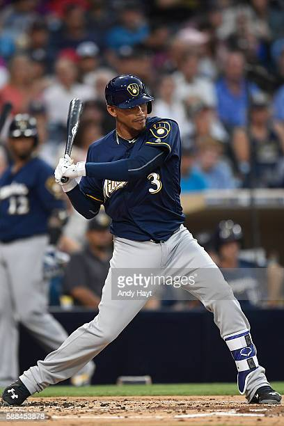 Orlando Arcia of the Milwaukee Brewers hits during the game against the San Diego Padres at PETCO Park on August 2 2016 in San Diego California
