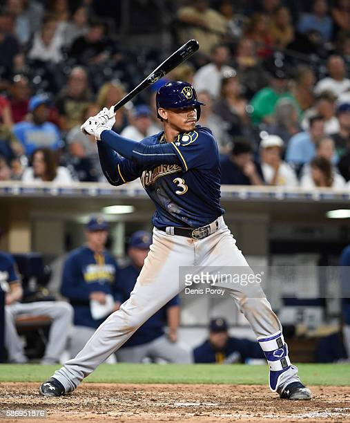 Orlando Arcia of the Milwaukee Brewers plays during a baseball game against the San Diego Padres at PETCO Park on August 2 2016 in San Diego...