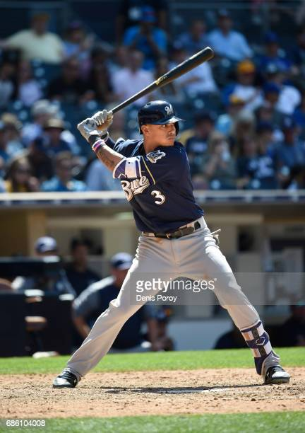 Orlando Arcia of the Milwaukee Brewers plays during a baseball game against the San Diego Padres at PETCO Park on May 18 2017 in San Diego California