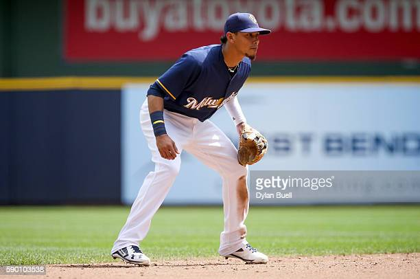 Orlando Arcia of the Milwaukee Brewers plays shortstop in the third inning against the Cincinnati Reds at Miller Park on August 14 2016 in Milwaukee...