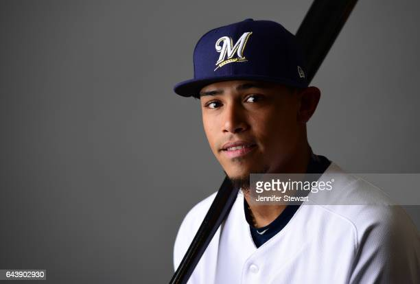 Orlando Arcia of the Milwaukee Brewers poses for a portrait during a MLB photo day at Maryvale Baseball Park on February 22 2017 in Maryvale Arizona