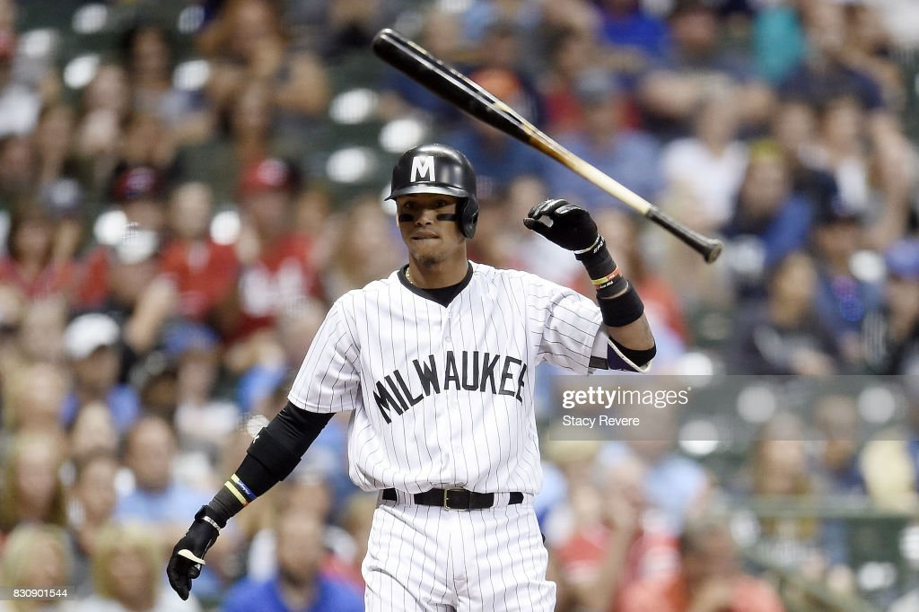 Orlando Arcia #3 of the Milwaukee Brewers reacts to a strike out during the ninth inning against the Cincinnati Reds at Miller Park on August 12, 2017 in Milwaukee, Wisconsin.