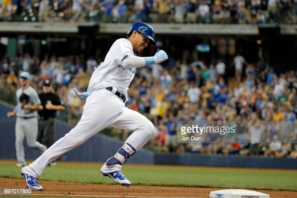 Orlando Arcia of the Milwaukee Brewers rounds third base on his insidethepark homerun against the San Diego Padres during the third inning at Miller...