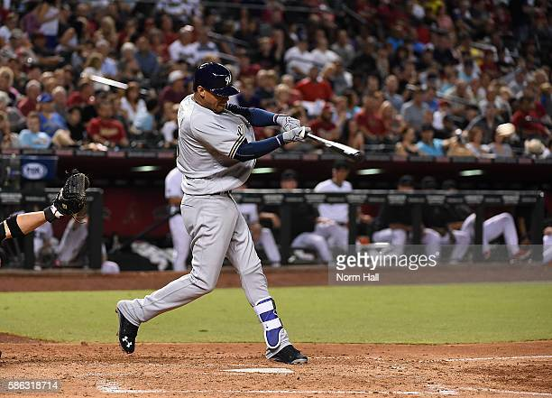 Orlando Arcia of the Milwaukee Brewers singles in a run during the fourth inning off of Braden Shipley of the Arizona Diamondbacks at Chase Field on...