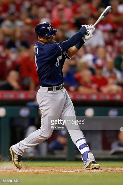 Orlando Arcia of the Milwaukee Brewers takes an at bat during the game against the Cincinnati Reds at Great American Ball Park on September 5 2017 in...