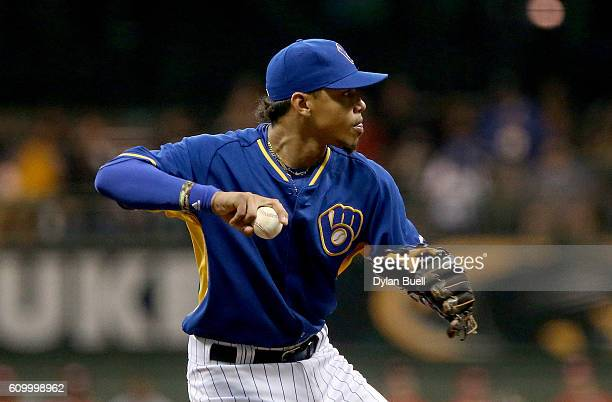 Orlando Arcia of the Milwaukee Brewers throws to first base in the second inning against the Cincinnati Reds at Miller Park on September 23 2016 in...