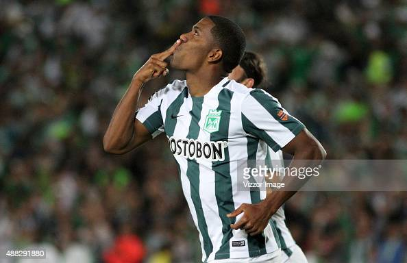 Orlando Berrio of Atletico Nacional celebrates after scoring during a match between Deportes Tolima and Atletico Nacional as part of 12th round of...