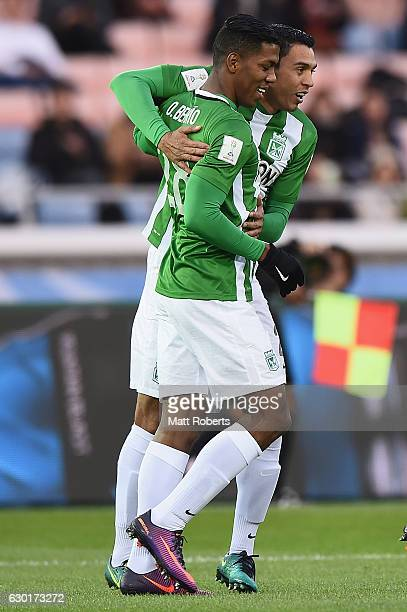 Orlando Berrio of Atletico Nacional celebrates after scoring the opening goal during the FIFA Club World Cup 3rd place match between Club America and...
