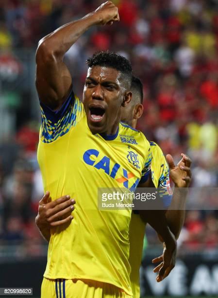Orlando Berrio of Flamengo celebrates a scored goal during a match between Flamengo and Coritiba as part of Brasileirao Series A 2017 at Ilha do...