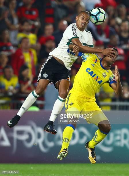 Orlando Berrio of Flamengo struggles for the ball with Marcio of Coritiba during a match between Flamengo and Coritiba as part of Brasileirao Series...