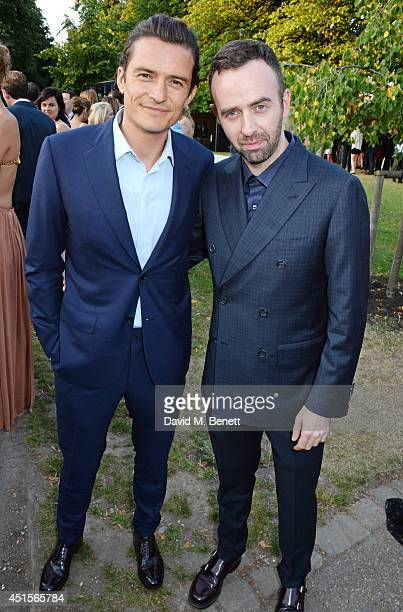 Orlando Bloom and Brendan Mullane attend The Serpentine Gallery Summer Party cohosted by Brioni at The Serpentine Gallery on July 1 2014 in London...