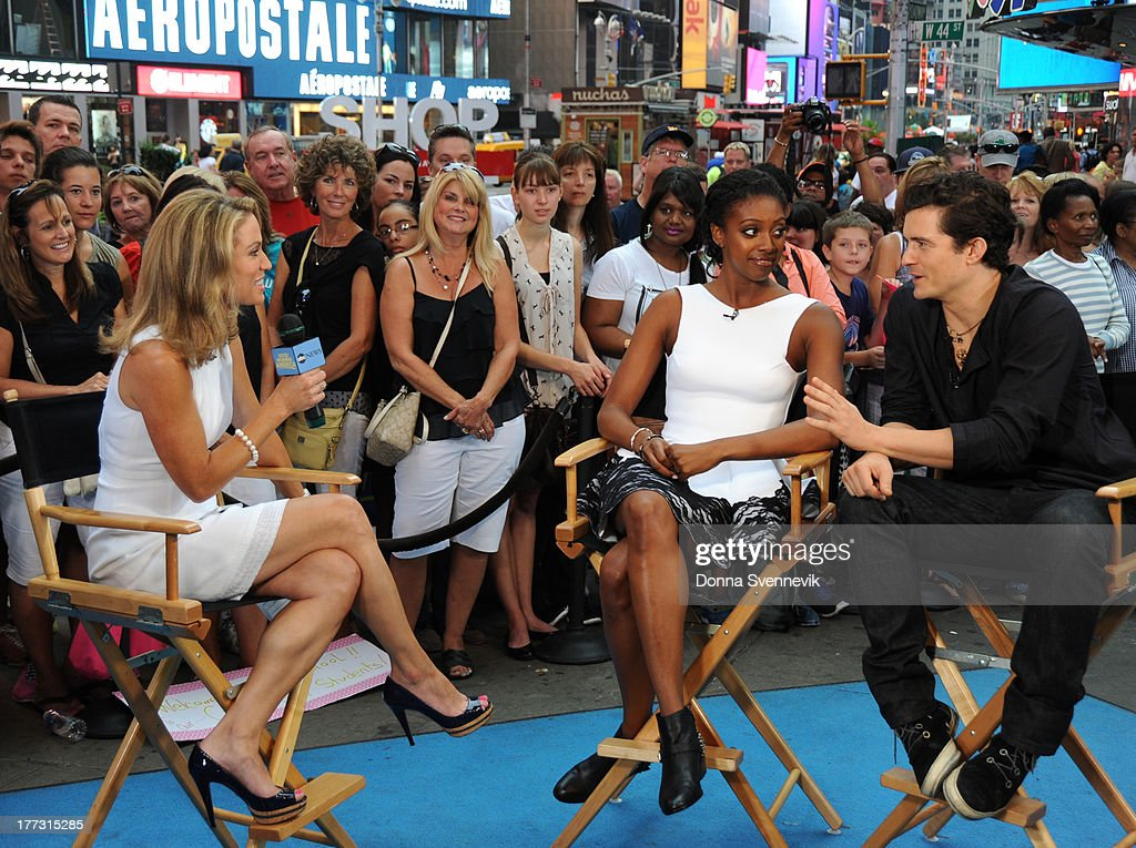 AMERICA - Orlando Bloom and Condola Rashad are guests on 'Good Morning America,' 8/22/13, airing on the ABC Television Network. (Photo by Donna Svennevik/ABC via Getty Images) AMY ROBACH, CONDOLA RASHAD, ORLANDO BLOOM