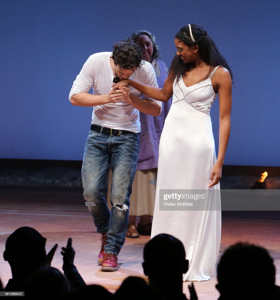 <a gi-track='captionPersonalityLinkClicked' href=/galleries/search?phrase=Orlando+Bloom&family=editorial&specificpeople=202520 ng-click='$event.stopPropagation()'>Orlando Bloom</a> and Condola Rashad during the 'Romeo And Juliet' Broadway Opening Night Curtain Call at Richard Rodgers Theatre on September 19, 2013 in New York City.