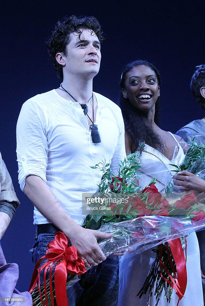 Orlando Bloom and Condola Rashad take thier opening night curtain call in 'Shakespeare's Romeo And Juliet' on Broadway at The Richard Rogers Theater...