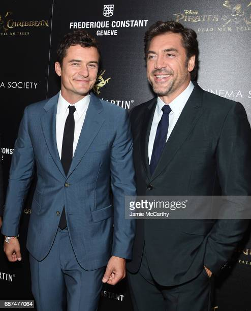 Orlando Bloom and Javier Bardem attend a screening of 'Pirates Of The Caribbean Dead Men Tell No Tales' hosted by The Cinema Society at Crosby Street...